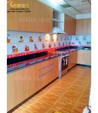 ชุดครัว Built-in ตู้ล่าง โครงซีเมนต์บอร์ด หน้าบาน Melamine สี Jamiaca Teak ลายไม้แนวนอน
