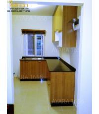 ชุดครัว Built-in โครงซีเมนต์บอร์ด หน้าบาน Melamine สี Cherry Capucino