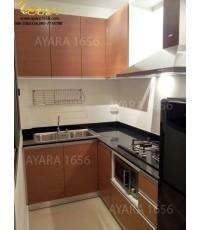 ชุดครัว Built-in ตู้ล่าง โครงซีเมนต์บอร์ด หน้าบาน Melamine สี Silver Pine ลายไม้แนวนอ