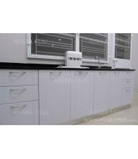 ชุดครัว Built-in ตู้ล่าง โครงซีเมนต์บอร์ด หน้าบาน PVC สีขาวด้าน เซาะร่อง