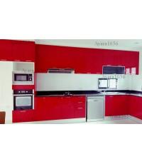 ชุดครัว Built-in ตู้ล่าง+ตู้สูง โครงซีเมนต์บอร์ด หน้าบาน Hi Gloss สีแดง