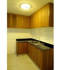 ชุดครัว Built-in ตู้ล่าง โครงซีเมนต์บอร์ด หน้าบาน Laminate สี Oiled Olivewood ลายไม้ - ม.Casa Ville
