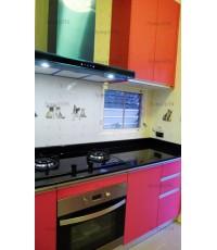 ชุดครัว Built-in ตู้ล่าง โครงซีเมนต์บอร์ด หน้าบาน Melamine สีชมพู - ม.inizio