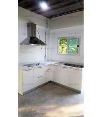 ชุดครัว Built-in โครงซีเมนต์บอร์ด หน้าบาน Acrylic สีขาว