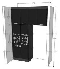 ชุดครัว Built-in โครงซีเมนต์บอร์ด หน้าบาน Acrylic สีดำ