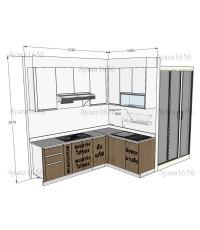 ชุดครัว Built-in ตู้ล่าง โครงซีเมนต์บอร์ด หน้าบาน Laminate สี Cherry Afromosia ลายไม้ + Acylic สีขาว