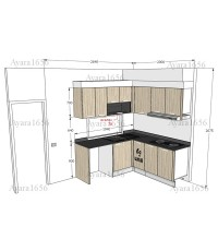 ชุดครัว Built-in ตู้ล่าง โครงซีเมนต์บอร์ด หน้าบาน Laminate สี Wheath Strand ลายไม้
