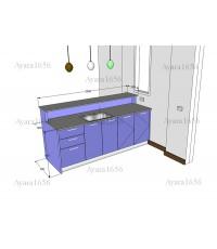 ชุดเคาน์เตอร์ Built-in ตู้ล่าง โครงซีเมนต์บอร์ด หน้าบาน Hi Gloss สีม่วง