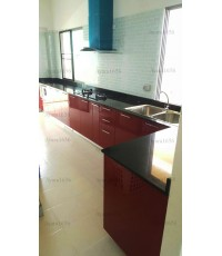 ชุดครัว Built-in ตู้ล่าง โครงซีเมนต์บอร์ด หน้าบาน PVC สีแดง - ม.Perfect Place