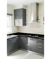 ชุดครัว Built-in ตู้ล่าง โครงซีเมนต์บอร์ด หน้าบาน PVC สีเทา - ม.Pruksa Town