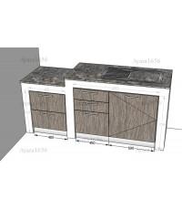 ชุดครัว Built-in โครงซีเมนต์บอร์ด หน้าบาน Laminate สี Delano Oak ลายไม้