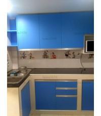 ชุดครัว Built-in ตู้ล่าง หน้าบาน Melamine สีน้ำเงิน