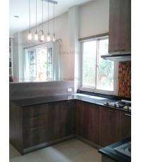 ชุดครัว Built-in ตู้ล่าง โครงซีเมนต์บอร์ด หน้าบาน Melamine ลายไม้สี Loft Olive Afromosia