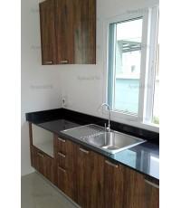 ชุดครัว Built-in ตู้ล่าง โครงซีเมนต์บอร์ด หน้าบาน Melamine ลายไม้สี Loft Golden Oak