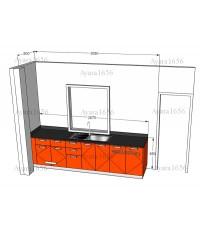 ชุดครัว Built-in โครงซีเมนต์บอร์ด หน้าบาน PVC สีส้ม