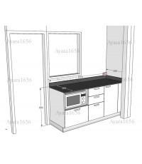 ชุดครัว Built-in โครงซีเมนต์บอร์ด หน้าบาน Acrylic สีขาวมุก