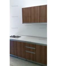 ชุดครัว Built-in ตู้ล่าง โครงซีเมนต์บอร์ด หน้าบาน Melamine สีคาปูชิโน่ ลายไม้