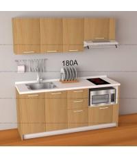 ชุดครัว Budget Kit ตู้ล่างใต้ Sink โครงซีเมนต์บอร์ด หน้าบาน Melamine - 180A ขนาด 1.80 เมตร