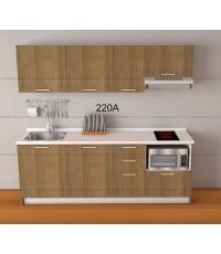 ชุดครัว Budget Kit ตู้ล่างใต้ Sink โครงซีเมนต์บอร์ด หน้าบาน Melamine - 220A ขนาด 2.20 เมตร