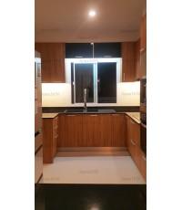 ชุดครัว Built-in ตู้ล่าง โครงซีเมนต์บอร์ด หน้าบาน Laminate สี Classic Walnut - ม.ภัสสร เพรสทีจ ลุกซ์