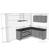 ชุดครัว Built-in ตู้ล่าง โครงซีเมนต์บอร์ด หน้าบาน Laminate สีเทาเงา