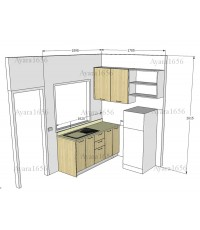ชุดครัว Built-in ตู้ล่าง โครงซีเมนต์บอร์ด หน้าบาน Melamine ลายไม้ สี Maple