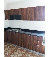 ชุดครัว Built-in ตู้ล่าง โครงซีเมนต์บอร์ด หน้าบาน Melamine สี Loft Golden Oak ลายไม้แนวตั้ง