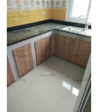 ชุดครัว Built-in ตู้ล่าง โครงซีเมนต์บอร์ด หน้าบาน Melamine สี คาปูชิโน