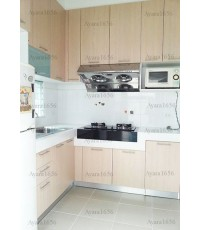 ชุดครัว Built-in ตู้ล่าง + วงกบ โครงซีเมนต์บอร์ด หน้าบาน Laminate สี Tassili - ม.พฤกษ์ลดา
