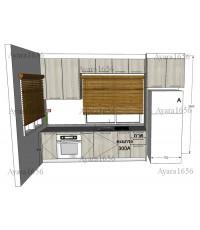 ชุดครัว Built-in ตู้ล่าง + ตู้สูง โครงซีเมนต์บอร์ด หน้าบาน Laminate สี Powdered Oak