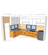 ชุดครัว Built-in โครงซีเมนต์บอร์ด หน้าบาน Acrylic สีส้ม+ขาว