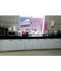 ชุดครัว Built-in โครงซีเมนต์บอร์ด หน้าบาน Acrylic ชุด A สีขาว + ชุด B สีน้ำตาล