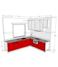 ชุดครัว Built-in โครงซีเมนต์บอร์ด หน้าบาน Acrylic สีแดง