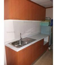 ชุดครัว Budget Kit ตู้ล่างใต้ Sink โครงซีเมนต์บอร์ด หน้าบาน Melamine สีเชอร์รี่ - 200A ขนาด 2.00 เมต