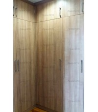 Walk In Closet - L Shape หน้าบานเมลามีน สี Cherry Capucino