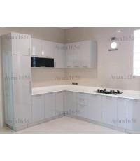 ชุดครัว Built-in ตู้ล่าง โครงซีเมนต์บอร์ด ชุด A, B หน้าบาน Laminate สีเทาเงา