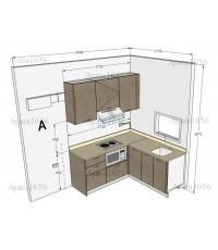 ชุดครัว Built-in ตู้ล่าง โครงซีเมนต์บอร์ด หน้าบาน Laminate สี Rural Oak