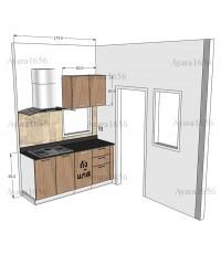 ชุดครัว Built-in ตู้ล่าง โครงซีเมนต์บอร์ด หน้าบาน Melamine สี Cherry Capuchino ลายไม้แนวตั้ง