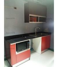 ชุดครัว Built-in ตู้ล่าง โครงซีเมนต์บอร์ด หน้าบาน Laminate สี Sarum Strand + Battalon