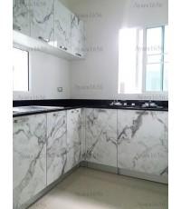ชุดครัว Built-in ตู้ล่าง โครงซีเมนต์บอร์ด หน้าบาน Laminate สีลายหินอ่อน - ม.Grande Pleno