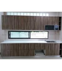 ชุดครัว Built-in ตู้ล่าง โครงซีเมนต์บอร์ด หน้าบาน Melamine สี Loft Chicago Grey