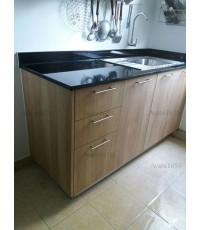 ชุดครัว Built-in ตู้ล่าง โครงซีเมนต์บอร์ด หน้าบาน Laminate สี Sand Oak