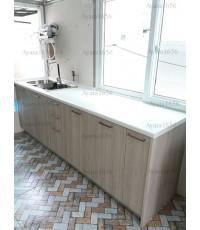 ชุดครัว Built-in ตู้ล่าง โครงซีเมนต์บอร์ด หน้าบาน Laminate สี Powdered Oak - ม.ศุภาลัย Park Ville