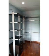 Walk In Closet - L Shape หน้าบานเมลามีน สี Oak