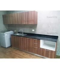 ชุดครัว Budget Kit ตู้ล่างใต้ Sink โครงซีเมนต์บอร์ด หน้าบาน Melamine สี Milano Wood - 240A ขนาด 2.40