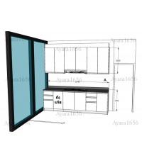 ชุดครัว Built-in ตู้ล่าง โครงซีเมนต์บอร์ด + Island หน้าบาน Hi Gloss สีขาว