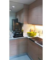 ชุดครัว Built in ตู้ล่าง โครงซีเมนต์บอร์ด เฉพาะ Sink หน้าบาน Laminate สี Vicuna Graceful Oak