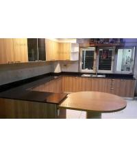 ชุดครัว Built-in ตู้ล่าง โครงซีเมนต์บอร์ด หน้าบาน Laminate สี Millennium Oak
