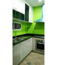 ชุดครัว Built-in ตู้ล่าง โครงซีเมนต์บอร์ด หน้าบาน Laminate สี White Sakura - ม.Perfect Place