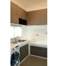 ชุดครัว Built-in ตู้ล่าง โครงซีเมนต์บอร์ด หน้าบาน Laminate สี Sarum Strand - ม.ชัยพฤกษ์